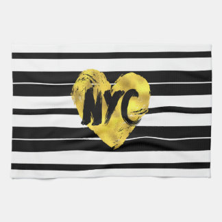 Gold Heart, NYC, Black and White Tea Towel