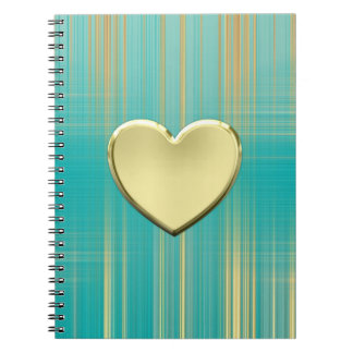 Gold Heart on Turquoise Plaid Spiral Notebook