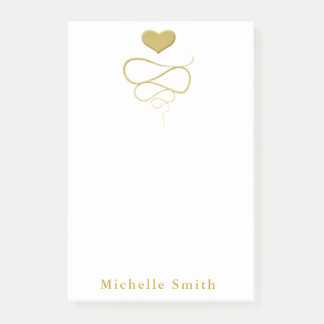 Gold Heart Ornament Personalized Post-it Notes