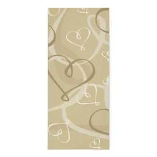 Gold heart pattern 10 cm x 24 cm invitation card