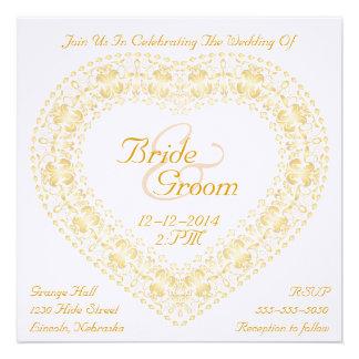 Gold Heart & Rainbow Wedding Invitation