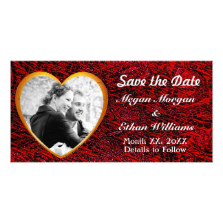 Gold Heart & Red Fabric Save the Date Photocard Photo Card Template