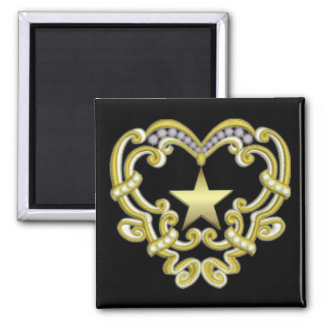 Gold Heart Star Square Magnet