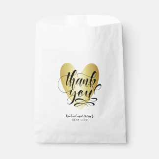Gold Heart Thank You Personalized Favour Bag