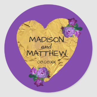 Gold Heart w Purple Roses Personalized Wedding Round Sticker
