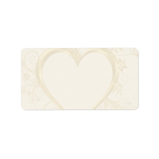 Gold Heart Wedding Address Label