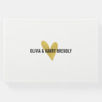 Gold Heart Wedding Guest Book