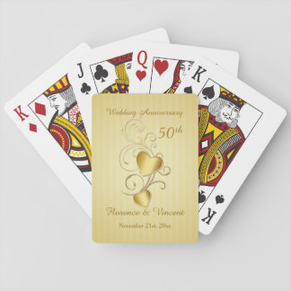 Gold hearts 50th Wedding Anniversary Playing Cards