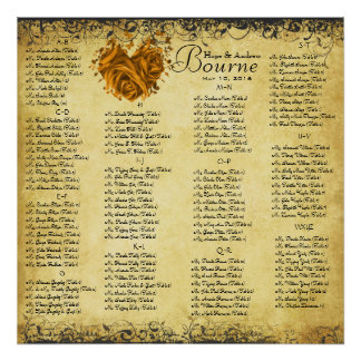 Gold Hearts and Roses Wedding Seating Chart Poster
