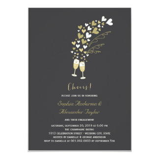 Gold Hearts Champagne Cheers Engagement Invite