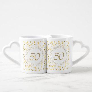 Gold Hearts Confetti 50th Anniversary Coffee Mug Set