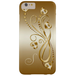 Gold Hearts Gold Ornate Swirls Monogram iphone6 P Barely There iPhone 6 Plus Case