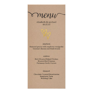 Gold Hearts Kraft Wedding Menu Customized Rack Card
