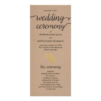Gold Hearts Kraft Wedding Program Rack Card