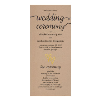 Gold Hearts Kraft Wedding Program Rack Card Design