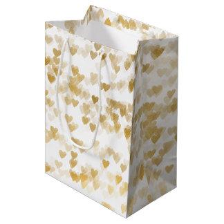 Gold Hearts Medium Gift Bag