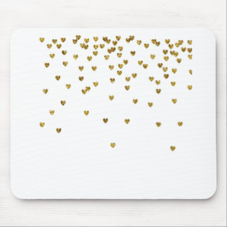 Gold Hearts Mouse Pad
