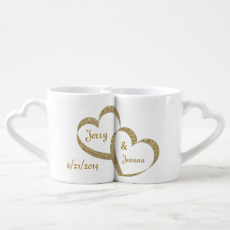 Gold Hearts Newlywed Mug Set Lovers Mugs