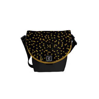 gold hearts on black with monogram messenger bag