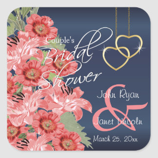 Gold Hearts on Coral & Navy Satin -  Bridal Shower Square Sticker