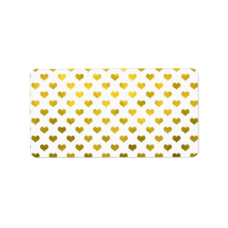 Gold Hearts Polka Dot Heart Metallic Pattern Address Label