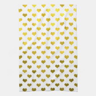 Gold Hearts Polka Dot Heart Metallic Pattern Kitchen Towels