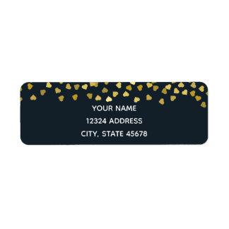 Gold Hearts Return Address Label