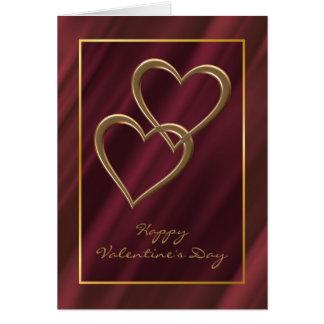 Gold hearts Valentine card