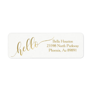 "Gold ""Hello"" Modern Style Return Address Return Address Label"