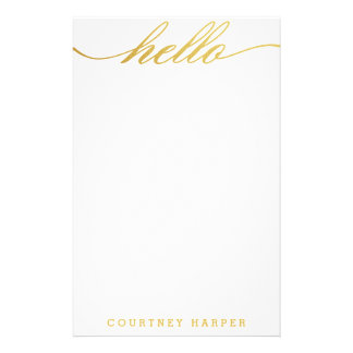 "Gold ""Hello"" Personal Stationery"