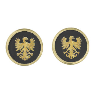Gold Heraldic Griffin and Your Color Gold Finish Cuff Links