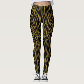 Gold Herringbone Leggings