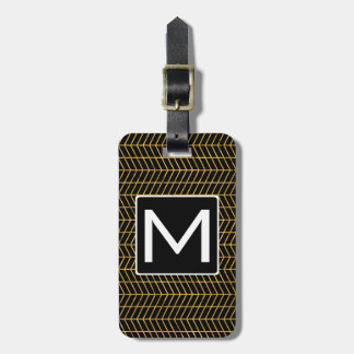 Gold Herringboned Mono Gram Luggage Tag