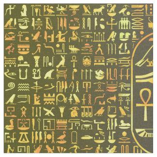 Gold Hieroglyphics Fabric