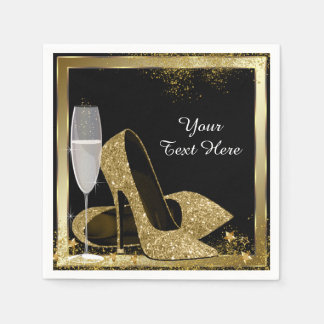 Gold High Heel Birthday Party Disposable Serviettes