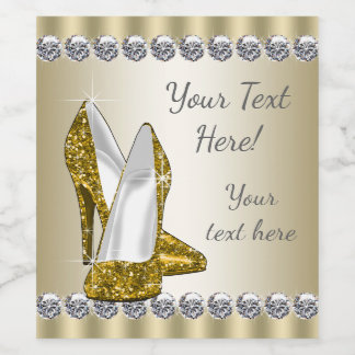 Gold High Heel Shoe Wine Bottle Labels