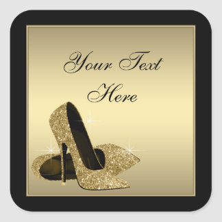 Gold High Heel Shoes Envelope Seal Party Favor Square Sticker