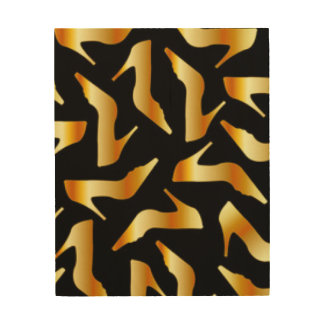 Gold High Heels Pattern Design Wood Canvases