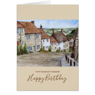 Gold Hill, Shaftesbury, Dorset Watercolor Painting Card