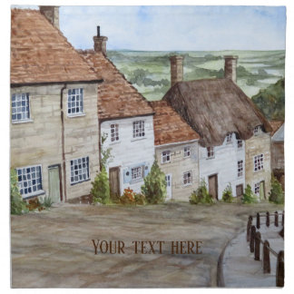 Gold Hill, Shaftesbury, Dorset Watercolor Painting Napkin