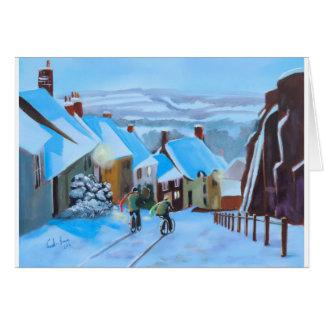 Gold Hill Shaftesbury winter snow scene Card