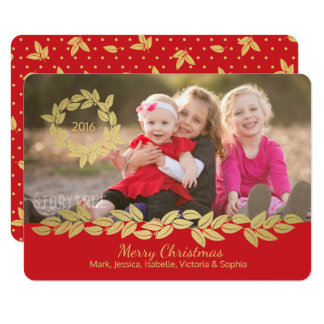 Gold Holiday Bay Leaf Wreath and Garland Red Photo Card