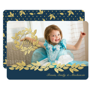 Gold Holiday Wreath and Garland Photo Card