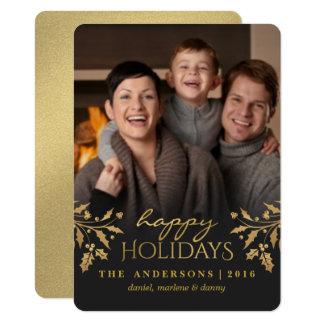 Gold Holly Happy Holiday Photo Flat Card 11 Cm X 16 Cm Invitation Card