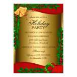 """Gold Holly Leaves Bell Christmas Holiday Invite 5"""" X 7"""" Invitation Card"""