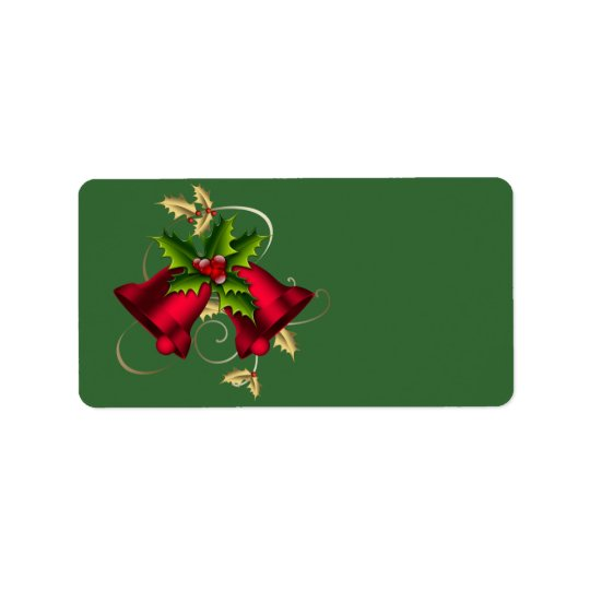 Gold Holly Red Bells Green Christmas Labels