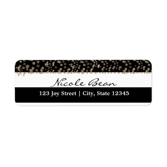 Gold Hollywood Black & White Stripes Address Label