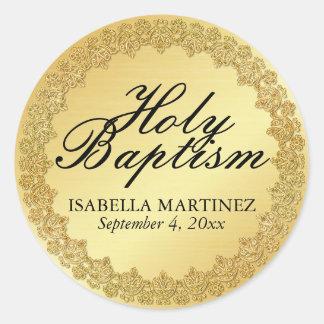 Gold Holy Baptism Sacrament Catholic Sticker Seal