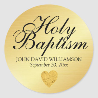 Gold Holy Baptism Sticker Seal with Heart