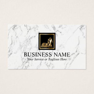 Gold Horse Equine Pony Logo Modern White Marble Business Card